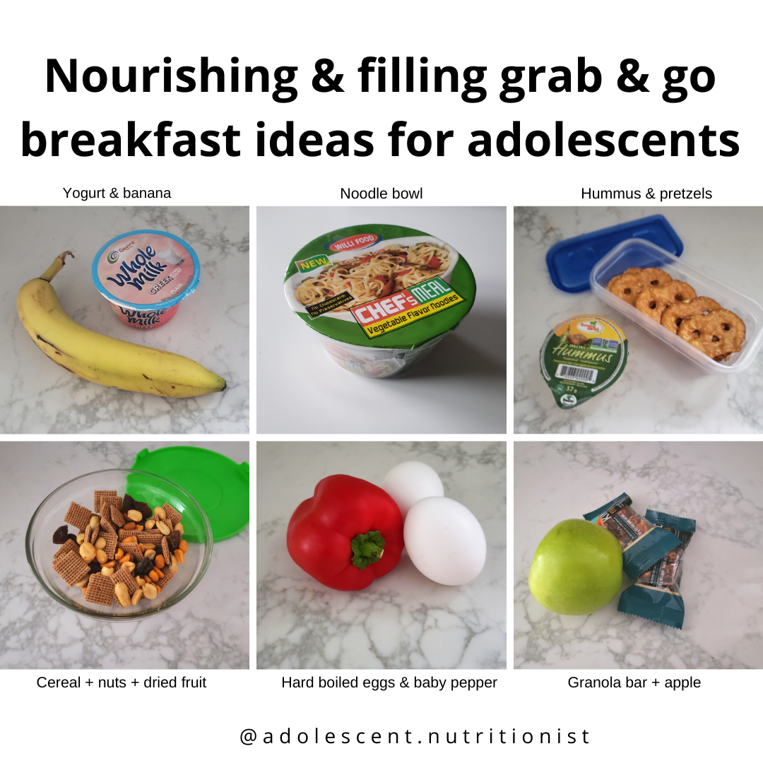 pictures of various food pairings for nourishing grab & go breakfasts